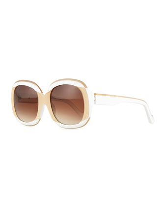 Two-Tone Oval Sunglasses, White/Nude