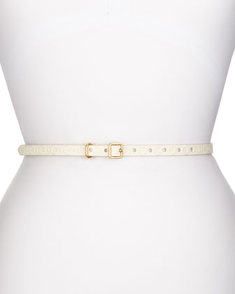 Thin Embossed Faux-Leather Belt, Cream