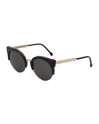 Lucia Francis Sunglasses, Black/Gold