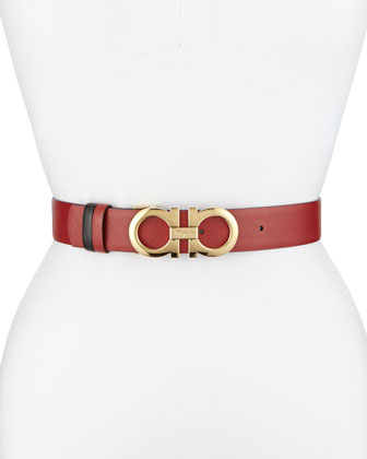 3.5cm Reversible Double Gancini Belt, Red/Black