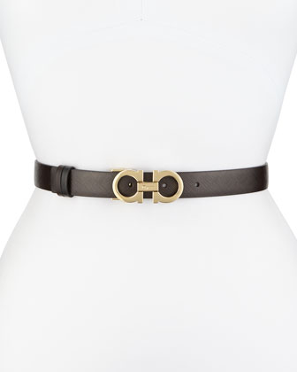 2.5cm Reversible Double-Gancini Belt, Brown/Black