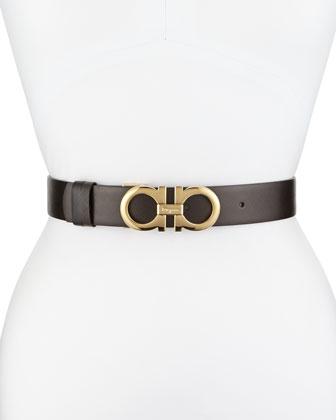 35cm Reversible Leather Gancini Belt, Brown/Black