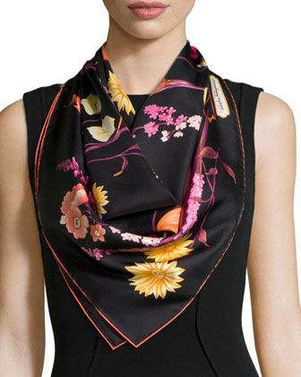 Fiorato Floral-Print Silk Foulard Scarf, Black