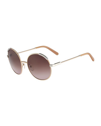 Eria Round Mixed-Metal Sunglasses, Dark Brown