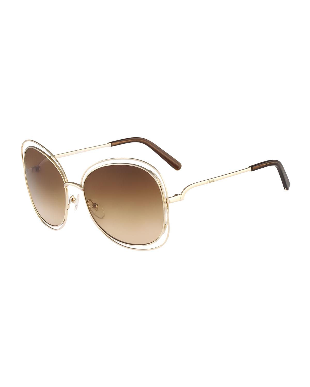 Carlina Butterfly-Frame Sunglasses, Rose Golden, Rose Gold - Chloe
