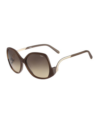 Emilia Drop-Temple Sunglasses, Brown