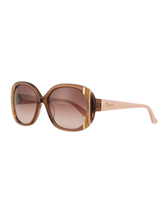 Universal Fit Striped Butterfly Sunglasses, Brown