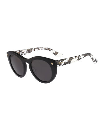 Rounded Cat-Eye Sunglasses, Black