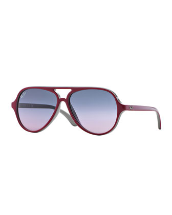 Junior Aviator Sunglasses, Red/Gray