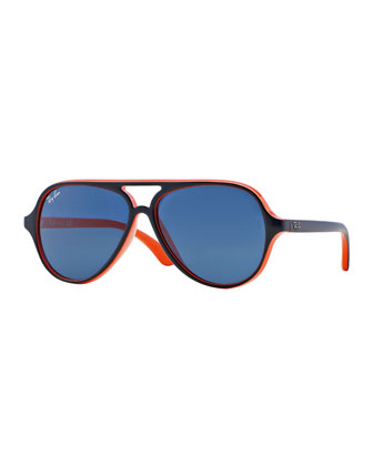 Junior Aviator Sunglasses, Blue/Orange