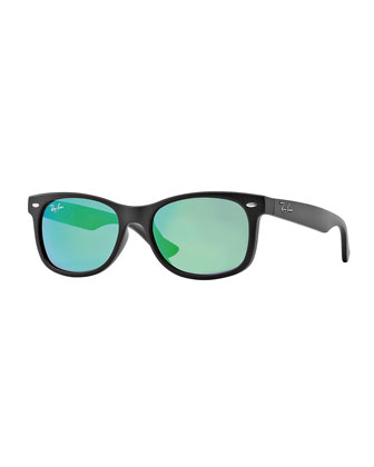 Children's Mirrored Wayfarer Sunglasses, Black/Green