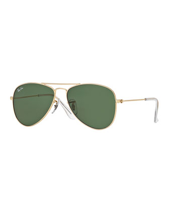 Junior Metal Aviator Sunglasses, Gold/Green