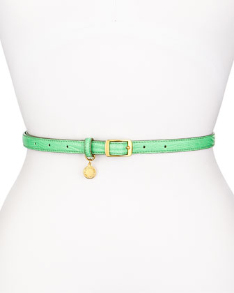 Snake-Embossed Faux-Leather Belt, Green