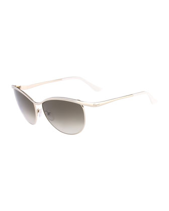 Metal Butterfly Sunglasses, Gold/Ivory