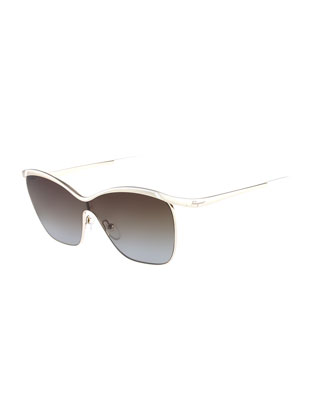 Shield Metal Sunglasses, Gold/Ivory