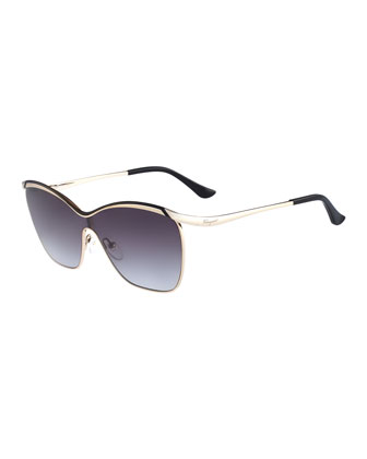 Shield Metal Sunglasses, Gold/Black