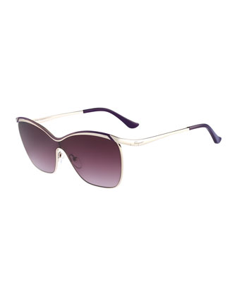 Shield Metal Sunglasses, Gold/Purple