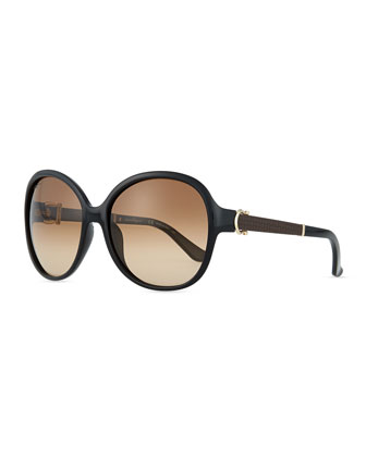 Leather-Temple Universal-Fit Sunglasses, Black