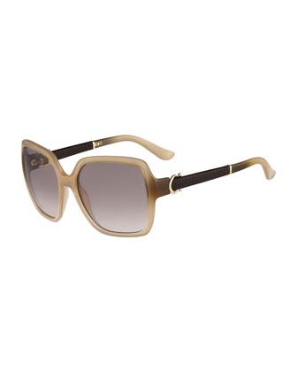 Square Embossed-Arm Sunglasses, Beige