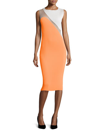 Sleeveless Colorblock Plisse Dress
