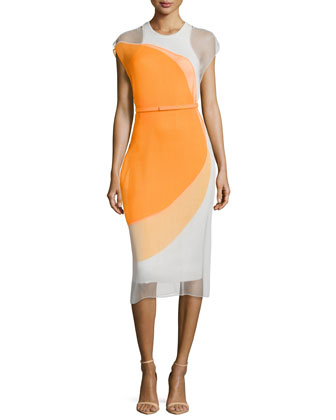 Sleeveless Colorblock Dress, Orange