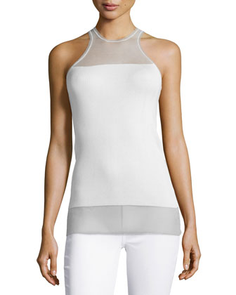 Sleeveless Ribbed Illusion Tank Top, Cream