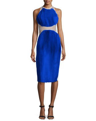 Sleeveless 2-Tier Plisse Dress, Blue