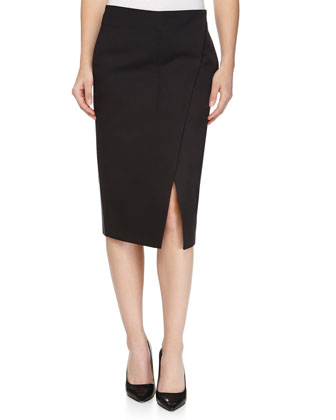 Bias-Slit Mid-Calf Skirt, Black