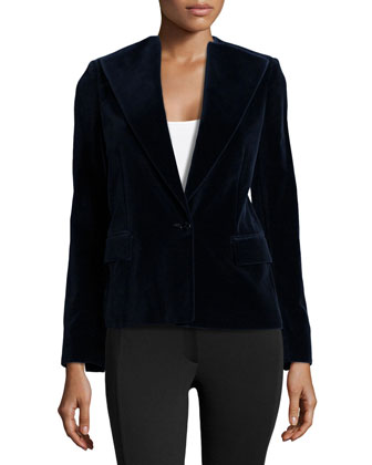 One-Button Velvet Blazer