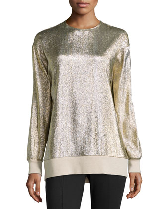 Silk-Blend Jersey Top, Gold