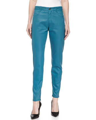 Skinny Coated Denim Ankle Trousers, Blue