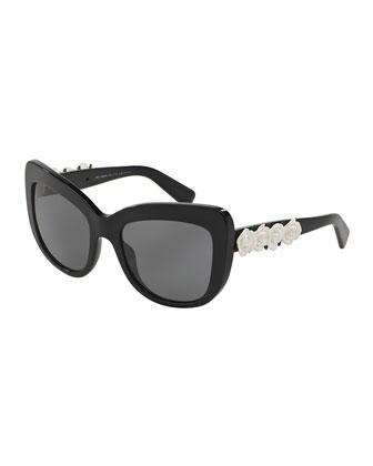 Catwalk Roses Polarized Sunglasses, Black/White