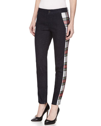 Skinny Denim Trousers w/Plaid Insets