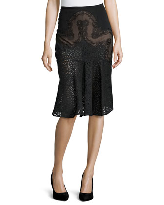 Mixed-Lace Flared Skirt, Black
