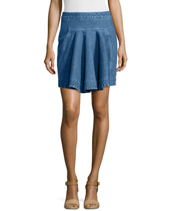 Pleated Denim Short Skirt, Blue