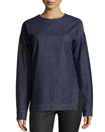 Thin-Stripe Long-Sleeve Top, Blue