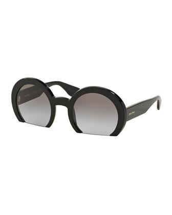 Rasoir Cutoff Round Sunglasses, Black