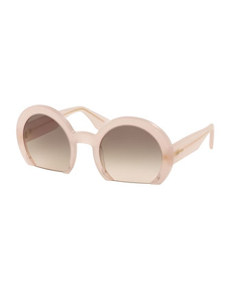 Rasoir Cutoff Round Sunglasses, Pink
