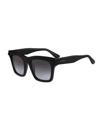 Sunglasses with Tonal Rockstud Temple, Black