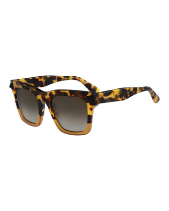 Tortoise Sunglasses with Rockstud Temple, Havana/Honey