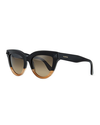 Tonal-Stud Sunglasses, Black/Honey