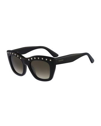 Rockstud-Brow Sunglasses, Black