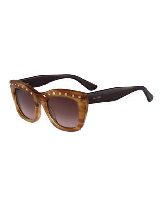 Rockstud-Brow Tortoise Sunglasses, Honey