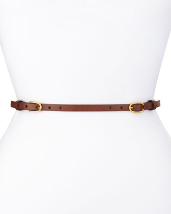 Two-Buckle Skinny Belt, Brown