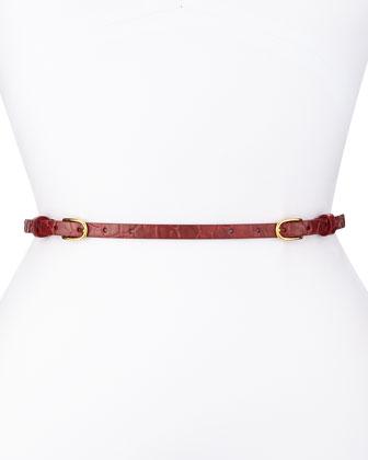 Two-Buckle Skinny Belt, Red