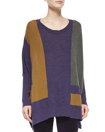 Cashmere Colorblock Knit Poncho Sweater