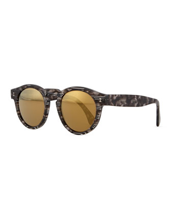 Leonard Round Horn/Striped Sunglasses with Mirror Lens