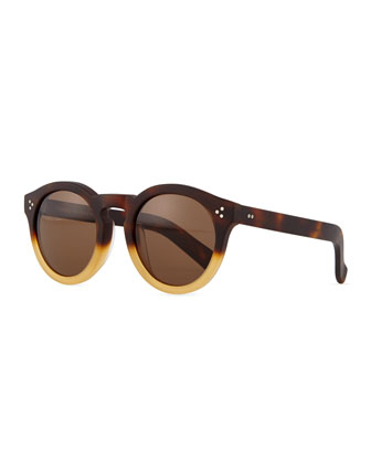 Leonard II Round Bicolor Sunglasses, Black/Brown