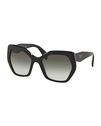 Heritage Hexagonal Sunglasses, Black