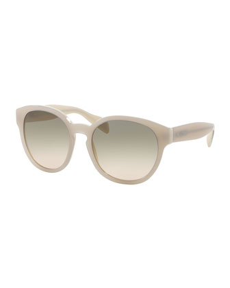 Conceptual Round Sunglasses, Ivory